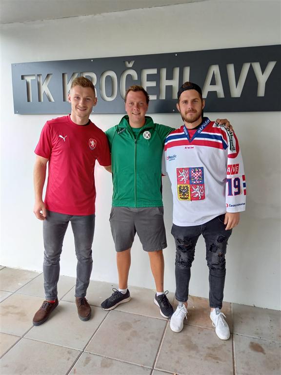 Úspěšní sportovci (zleva) fotbalista Jakub Brabec, tenista Marek Maršoun, hokejista David Stach