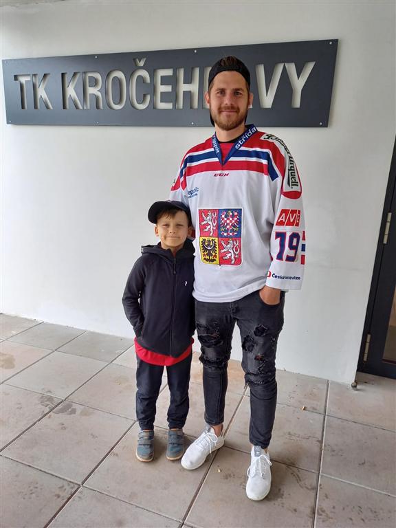 Tenista Šimon Maršner s hokejistou Davidem Stachem